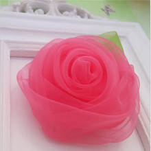 M MISM  New Style Chiffon Rose Flower Hairpins Kids Accessories Green Leaf Children Hair Accessories Gril's Lovely Hair Clip
