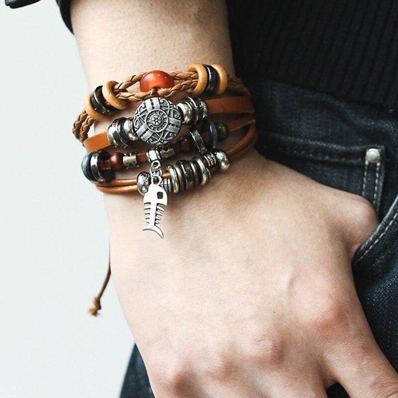 17KM-9-kinds-Design-Vintage-Multiple-Layer-Leather-Charms-Bracelets-For-Men-Women-Bracelet-Bangles-Retro