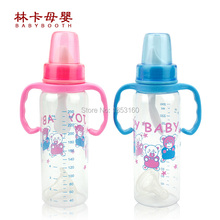 2016 Plastic Baby Bottles Of 250ml Of Standard Caliber Pc Material Blue Pink Feeding Supplies Wholesale