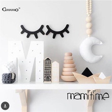 4 Colors INS 3D Wood Eyelash Wall Sticker Decorations Ornament Home Furnishing For Baby Kid Room Bedroom Decorative Wooden Decor(China)