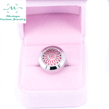 1 piece silver color newest Convex Sunflowers ring Aromatherapy / Essential Oils 316L S.Steel Perfume Diffuser Locket Ring
