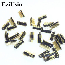 EziUsin 100pcs SMD 1.27mm Pitch Pin Gold-plated Double-pin 2x10P 1.27mm Dual Row Pin Header  SMT 2*10P Connector Pinheader