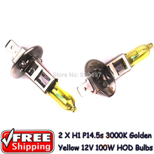 2 x H1 P14.5s 12V 3000K Golden Yellow 100W  Auto Car HOD Halogen Bulbs Lamps Fog Lights  Bulbs