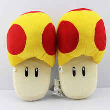 "Free Shipping Super Mario Bros Gold Mushroom Plush Slippers Adult Indoor Warm Slippers 11""28cm Retail 1 Pair(China)"
