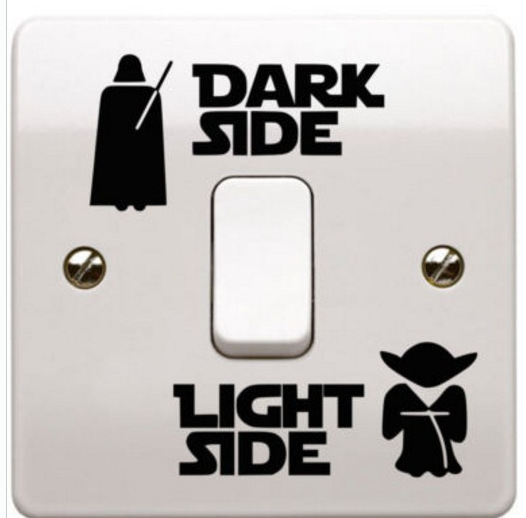 & Cartoon Star Wars Dark Light Side Switch Sticker Wall Stickers Kids Room Nursery Living Room Home Decor 3d Vinyl Wall Decal(China)