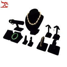 Black Velvet Jewelry Display Counter Showcase  Wooden Necklace Chest Earrings Rings Bracelet Watch Bangle Display Holder Stand