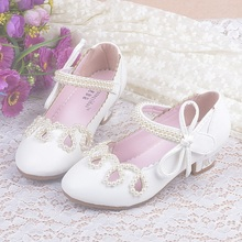 Girls Dress Shoes Children Sandalen Meisjes High Heel Shoes For Kids Beaded Bow Princess Party Shoes Leather Sandales Mocassin