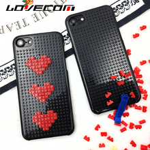 LOVECOM Fashion Block Case DIY Funny Toy Brick Love Heart For iPhone 6 6S Plus 7 7 Plus Hard PC Decompression Phone Cases