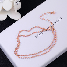YUN RUO Fashion Brand Rose Gold Anklet Double Layer Beads Chain for Woman Girl Gift 316 L Stainless Steel Jewelry Top Quality(China)