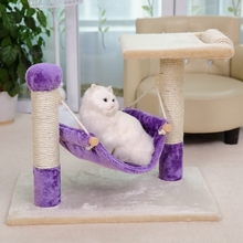 New Arrival Cat Furniture Scratcher Post Cat Hammock For Funny Kitten Playing Training With Board Standing On The Frame Purple