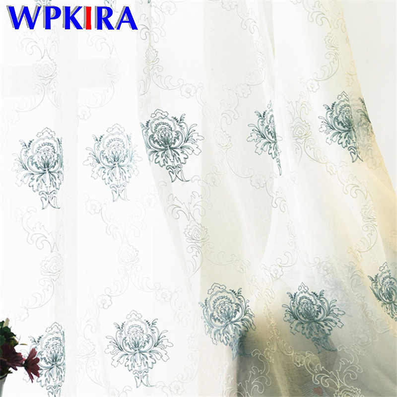 European Tulle Curtain For Living Room Bedroom Window Treatment Blue Floral Embroiderd White Sheer Voile Curtain Tulle  FQ001D3