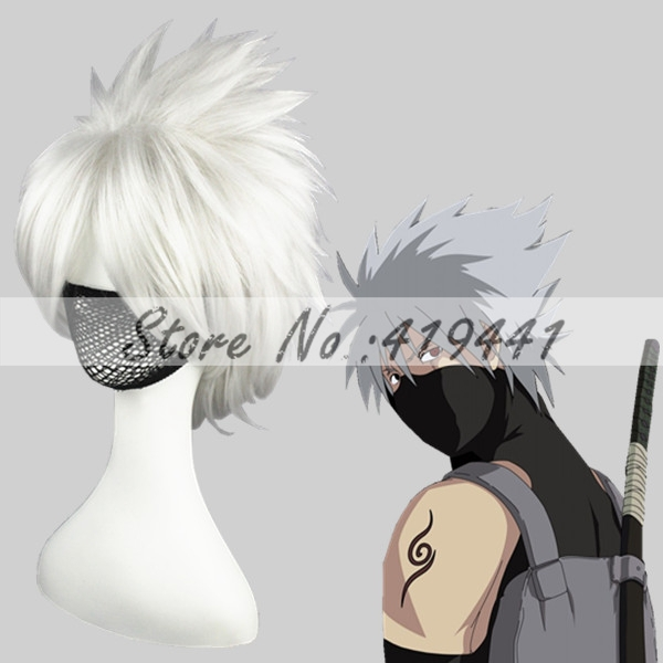 Free Shipping 35cm Short NARUTO Hatake Kakashi wig Silverg Gray Synthetic Anime wig Cosplay Hair Wigs<br><br>Aliexpress