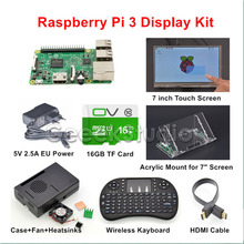 Original Raspberry Pi 3 16GB Starter Display Kit with 7 inch 1024*600 Touch Screen + 5V 2.5A EU/US/UK/AU Power Supply(China)
