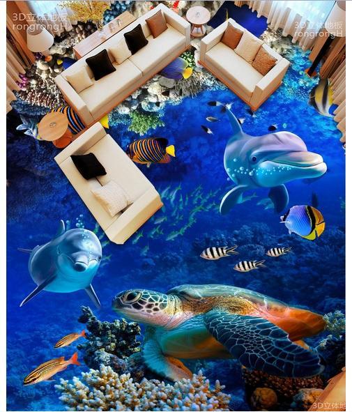Custom photo Waterproof floor wallpaper Dolphins and sea turtles 3d mural PVC wallpaper self-adhesion floor wallpaer<br>