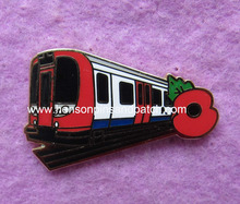 Custom poppy badge,train badge, flower badge, plate gold,imitation hard enamel