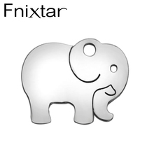 20Pcs/Lot Fnixtar Elephant Charms Stainless Steel Metal Blank Stamping Tag DIY Jewelry Pendants Necklace Women DIY Findings(China)