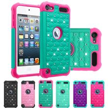 50pcs Touch5 touch6  Bling diamond Starry Rubber PC + Silicone Hybrid Armor Case cover for apple ipod touch 5 touch 6