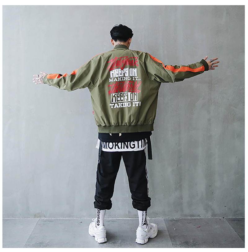 Bomber Jacket Men Pilot Printed Streetwear  (15)