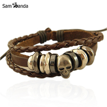 Free Shipping Wholesale Vintage Braided Leather Bracelet Bangle Punk Rock Skull Wristband For Men Bracelets Gift YK2041