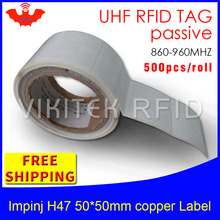 RFID tag UHF sticker Impinj H47 printable copper label 915mhz868mhz 500pcs free shipping long range adhesive passive RFID label