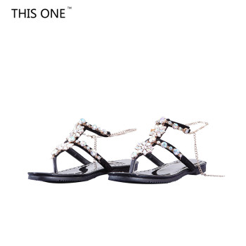 2018 Woman Sandals Women Shoes Rhinestones Chains Thong Gladiator Flat Sandals Crystal Chaussure Plus Size 43 tenis feminino