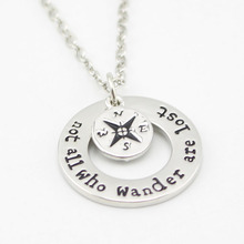 Charm not all who wander are lost Compass Pendant Necklace Chain Find your true north south direction For Women Men Jewelry Gift