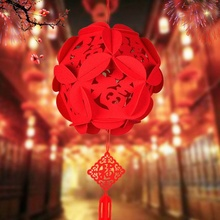 Red Traditional Chinese Lanterns, Mini Layout Lantern for Festival/ Wedding/ Party Decorations 1pc(China)
