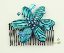 N13112707 blue Zebra shell faced crystal flower hairpin comb clip(China)