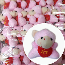 5.5CMx 40pcs Cute Plush Sheep With LOVE HEART Cell Phone Pendant Cartoon Stuffed Doll Toys #Pink