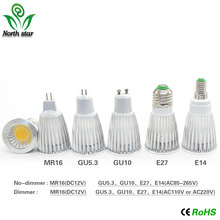 Super Bright E27/E14/GU10/MR16/GU5.3 Bulbs Light 110V/220V/12V Dimmable Led Warm/Cool White 85-265V  9W COB LED Spotlight