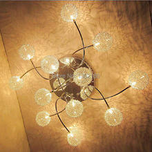 12 Lights New Modern  Aluminum  Ball with leaf Ceiling Lamp Chandelier Pendant Light crystal ball light fixture