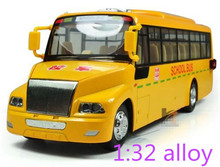 American school bus real voice Cars model alloy cars children educational gift big scchool bus model free shipping(China)