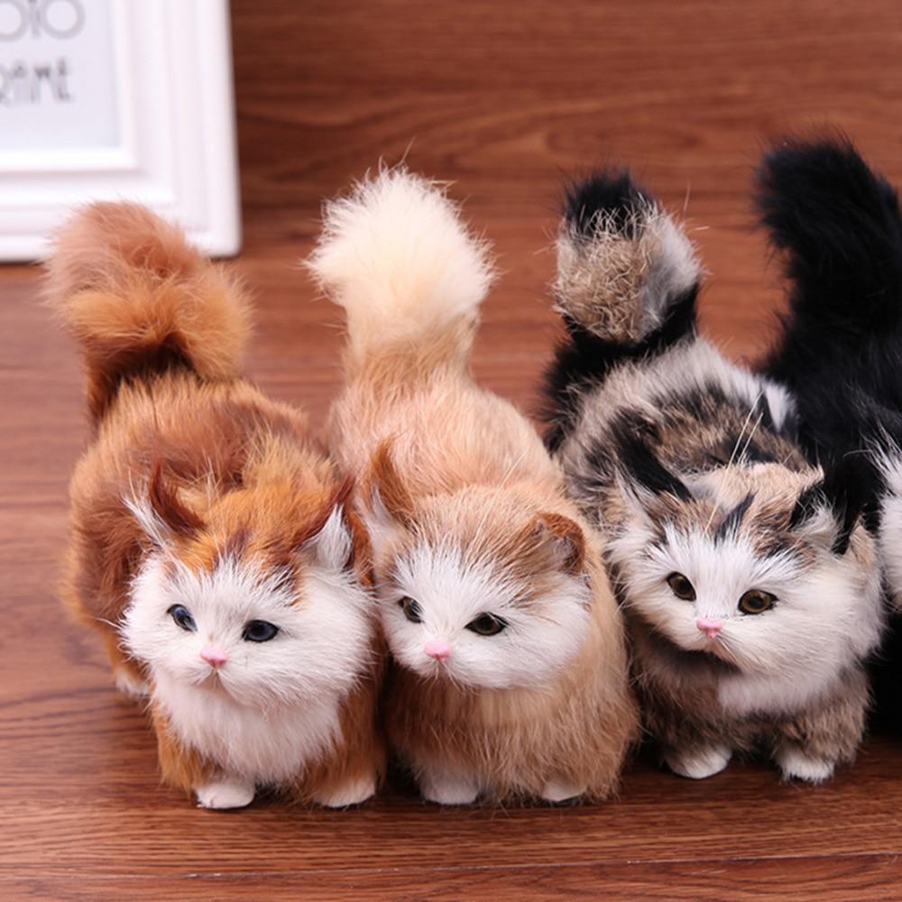 Funny Kids Lifelike Plush Cat Soft Doll Educational Toys Simulation Sound Toys
