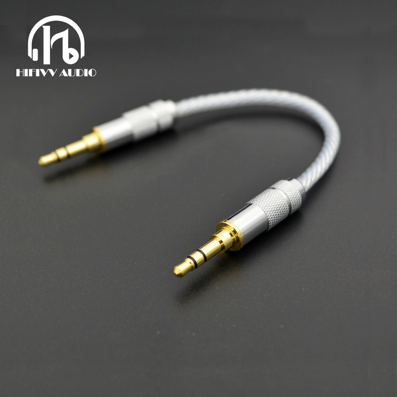8N OCC Silver Stereo 3.5mm Male To Male Aux Cable Headphone amp wire gold plug