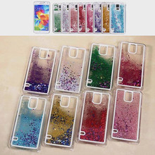 New Fashion Liquid Glitter meteor sand sequins Colorful Dynamic Transparent Hard Mobile Phone cases For Sumsung Galaxy S5 I9600