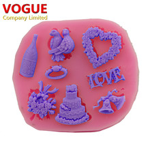 Xmas Bell Animals Love bird flower Shape 3D Silicone cake tools soap chocolate mould Christmas baking clay DIY mold N1783