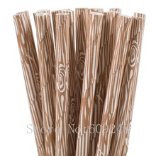 100pcs Brown Wood Grain Paper Straws,Cute Woodgrain Rustic Wedding Birthday Shabby Chic Forest Camping Woodland Party Decor Bulk