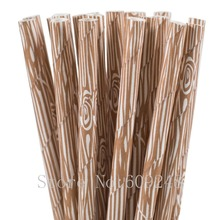 100pcs Brown Wood Grain Paper Straws,Cute Woodgrain Rustic Wedding Birthday Shabby Chic Forest Camping Woodland Party Decor Bulk(China)