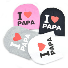 New Autumn Winter Baby Hats I LOVE PAPA MAMA Printing Kids Cap Knitted Warm Cotton Head Cap Baby Girl Boy For 1-3 years old(China)