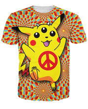Fashion Summer  women camisetas tops Buddha Pop's Pikachu Peace Trip T-Shirt Anime t shirt illuminati tee Pokemon men shirt