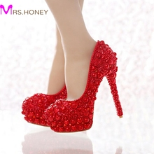Free Shipping Red Pearl Wedding Shoes 2016 Newest Model Heart Shape Pearl Bride High Heels Party Prom Shoes for Mom