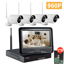 4CH CCTV System Wireless 960P NVR Set 4PCS 1.3MP IR Outdoor P2P Wifi IP CCTV Security Camera Recorder Kits with 10 inch Monitor