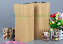 17x24cm,100 X Brown Stand up Kraft paper aluminium foil ZipLock bag,Reusable aluminizing mylar foil kraft pouch zipper Grip Seal