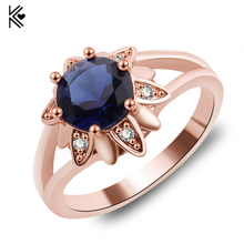 Big Round Blue Zircon Flower Rings For Female Male Rose Gold Filled Fashion Wedding Party Engagement Ring Simple Jewelry(China)