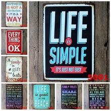 Life Is Simple Romantic Poetry Metal Tin Signs Bar Home Cafe School Family Rules Wall Poster Vintage Home Decor Plaque YN035