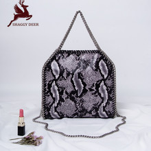 Luxury Serpentine PVC Small Chain Bag Fala Ladies Hand Weave Stella Crossbody Fold-Over Tote(China)