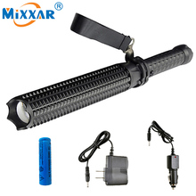 ZK35 Powerful 4500LM Led Flashlights 18650 CREE XM L2 Telescopic baton Self defense Police Patrol LED Rechargeable Torch Lamp(China)