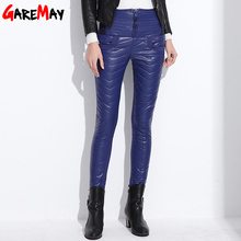 Winter Warm Leather Trousers For Women Duck Down Hight Waist Ladies  Femme Pencil Stretch Pants PU Red Trouser Skinny Long Pant