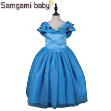 SAMGAMI BABY Europe and the United States Fashion Cinderella V Collar Butterfly Blue Princess Dress,Suitable for 110cm to 150cm(China)