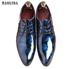 2017 Men Dress Wedding Shoes Shadow Patent Leather Luxury Fashion Groom Party Shoes Men Oxford Shoes 38-48 Male Casual Flats(China)